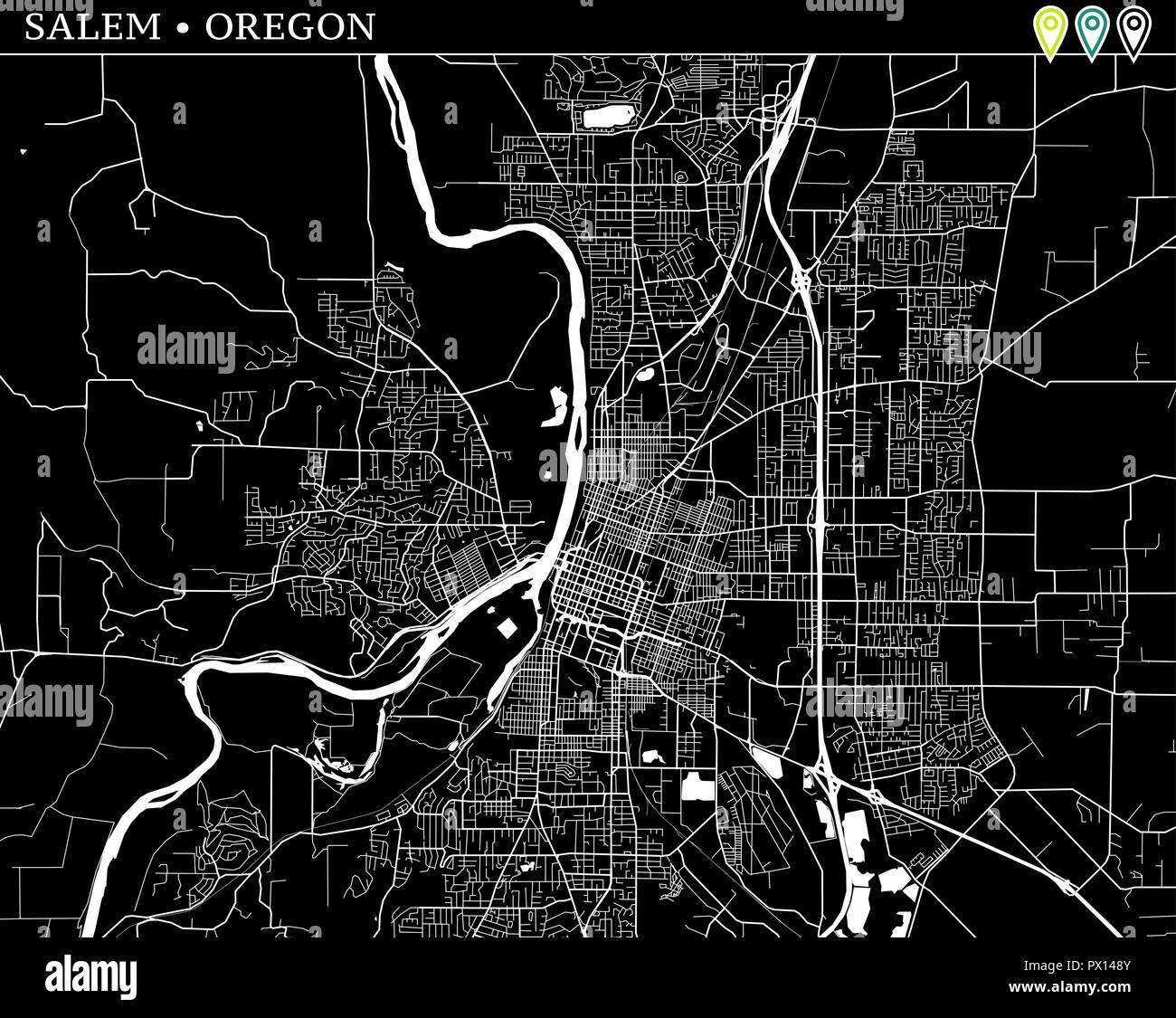 Simple map of Salem, Oregon, USA. Black and white version for ...