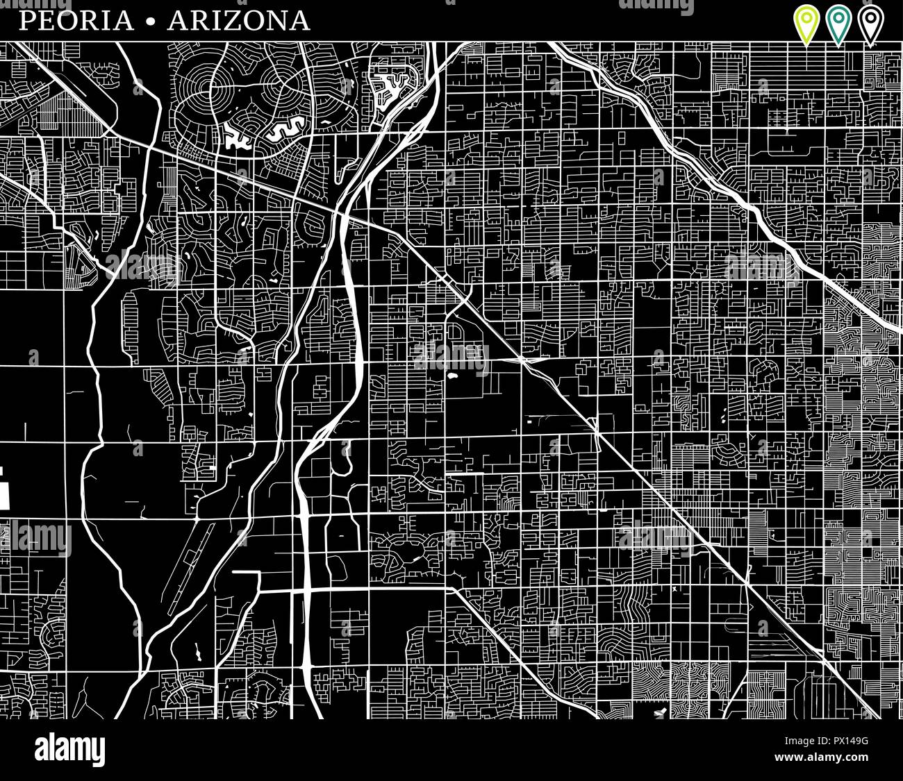 Simple Map Of Peoria Arizona Usa Black And White Version For