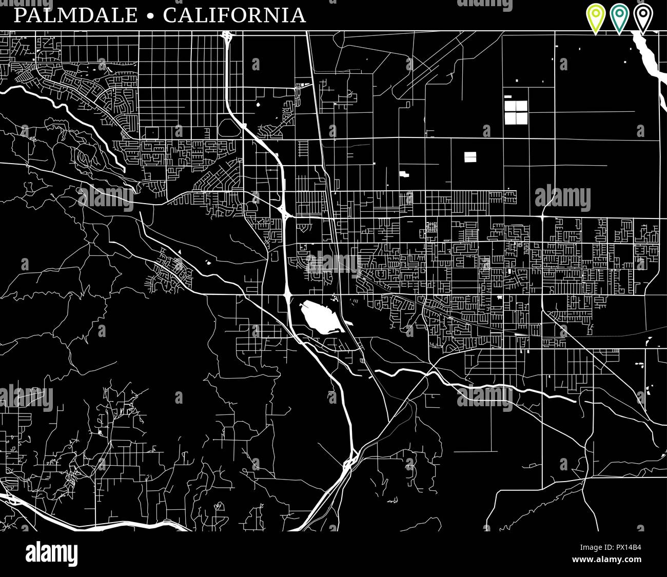Simple map of Palmdale, California, USA. Black and white version for ...