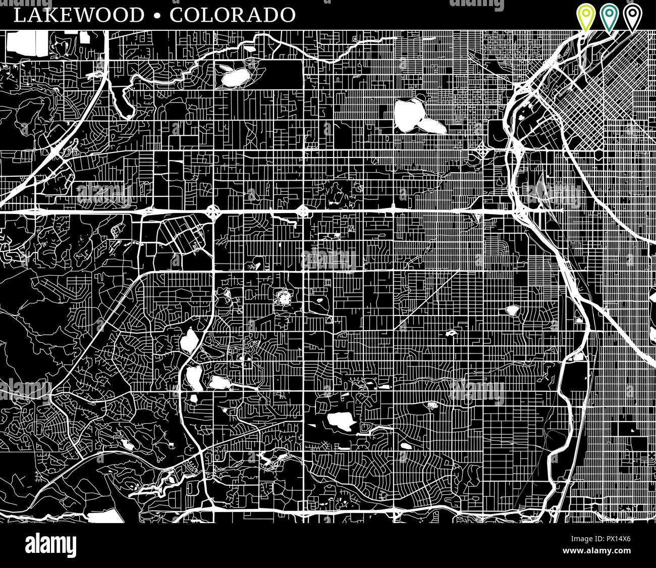 Simple map of Lakewood, Colorado, USA. Black and white version for ...