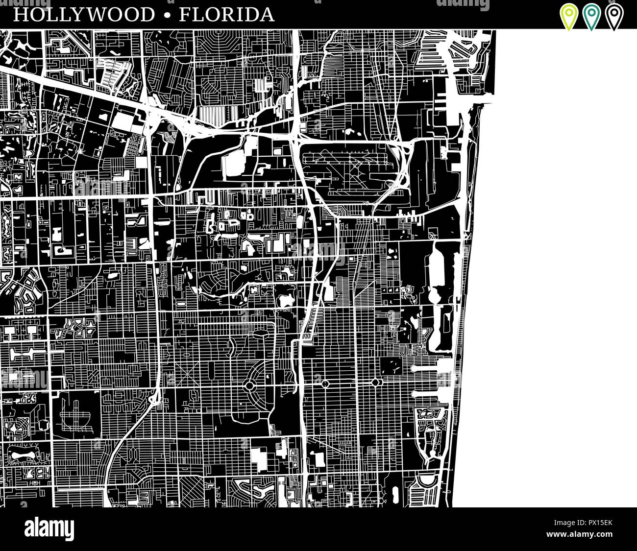 Hollywood Florida Map.Simple Map Of Hollywood Florida Usa Black And White Version For