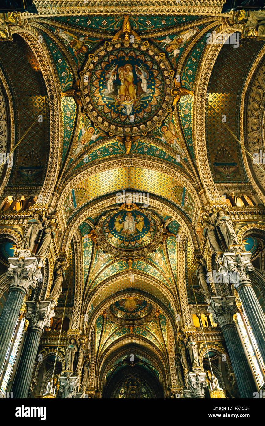 Basilica of Notre-Dame de Fourvière, Church, Lyon, France, 2018 - Stock Image