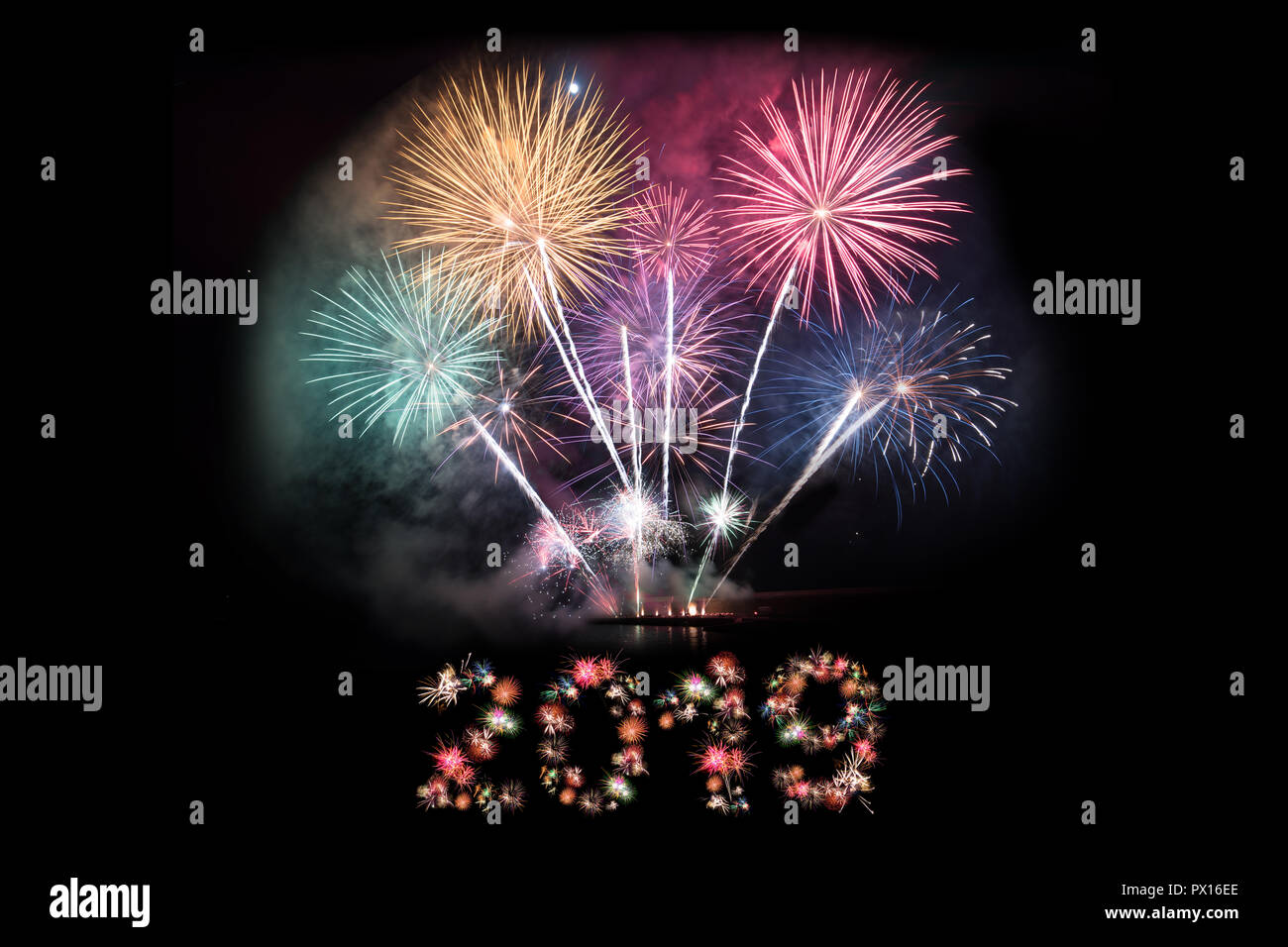 2019 new year eve background 2019 numbers made of fireworks