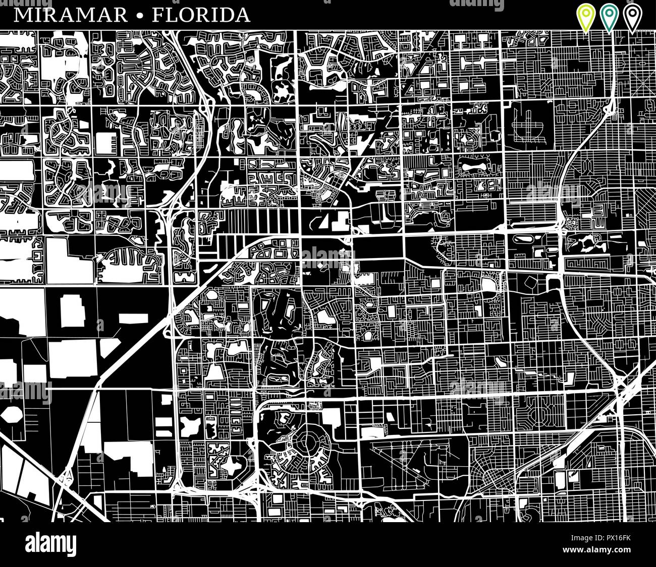 Simple Map Of Miramar Florida Usa Black And White Version For