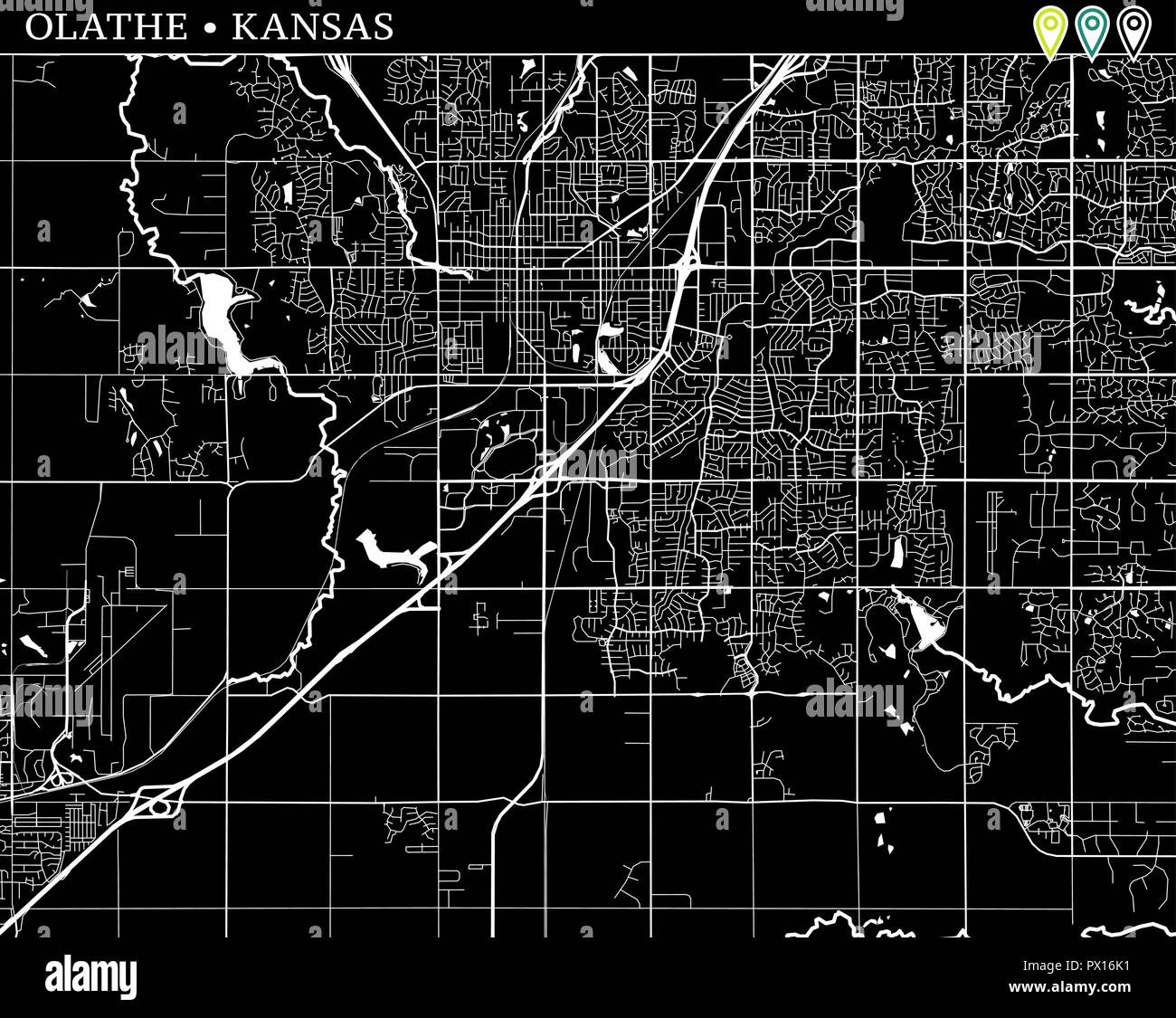 Simple Map Of Olathe Kansas Usa Black And White Version For