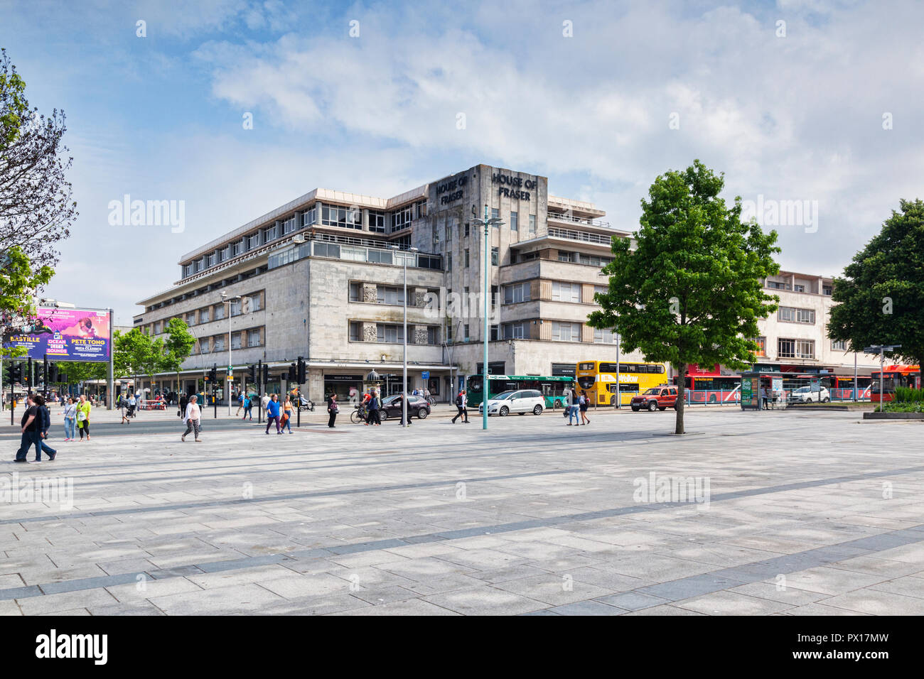 8 June 2018: Plymouth, Devon, UK - House of Fraser in Royal Parade, one of 31 stores whose closure has been announced. - Stock Image