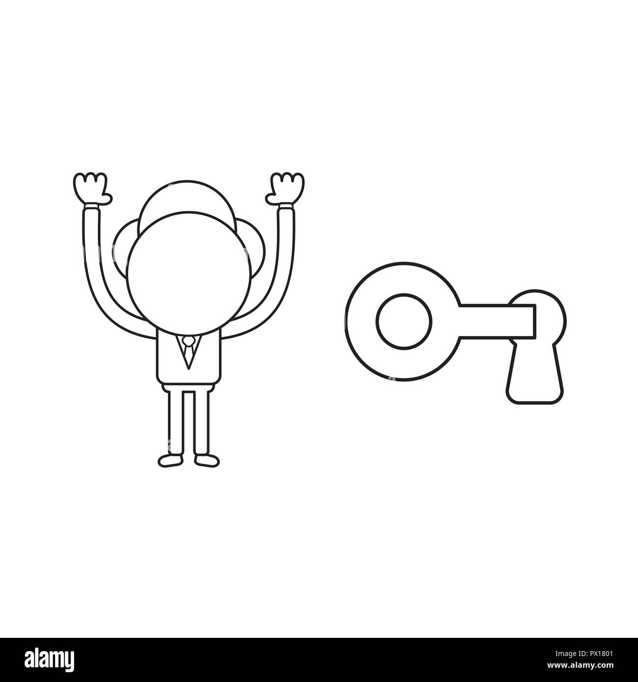 Vector illustration concept of businessman character lock or unlock keyhole with key. Black outline. - Stock Image
