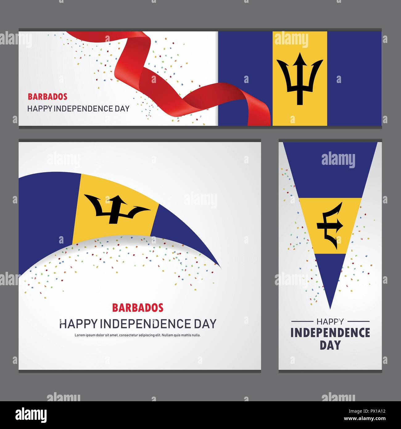 Happy Barbados independence day Banner and Background Set - Stock Vector