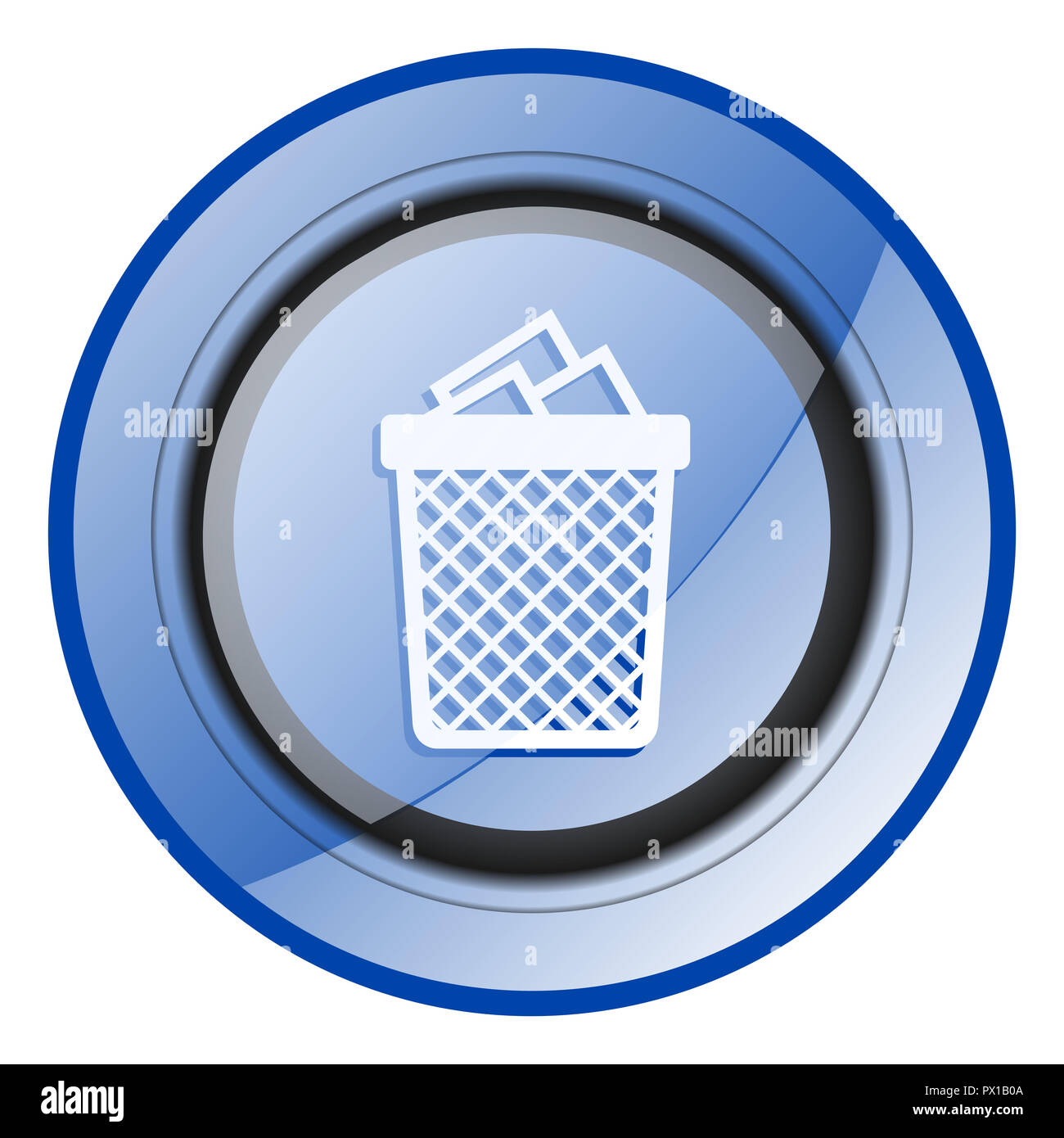 Trash can blue glossy web icon - Stock Image