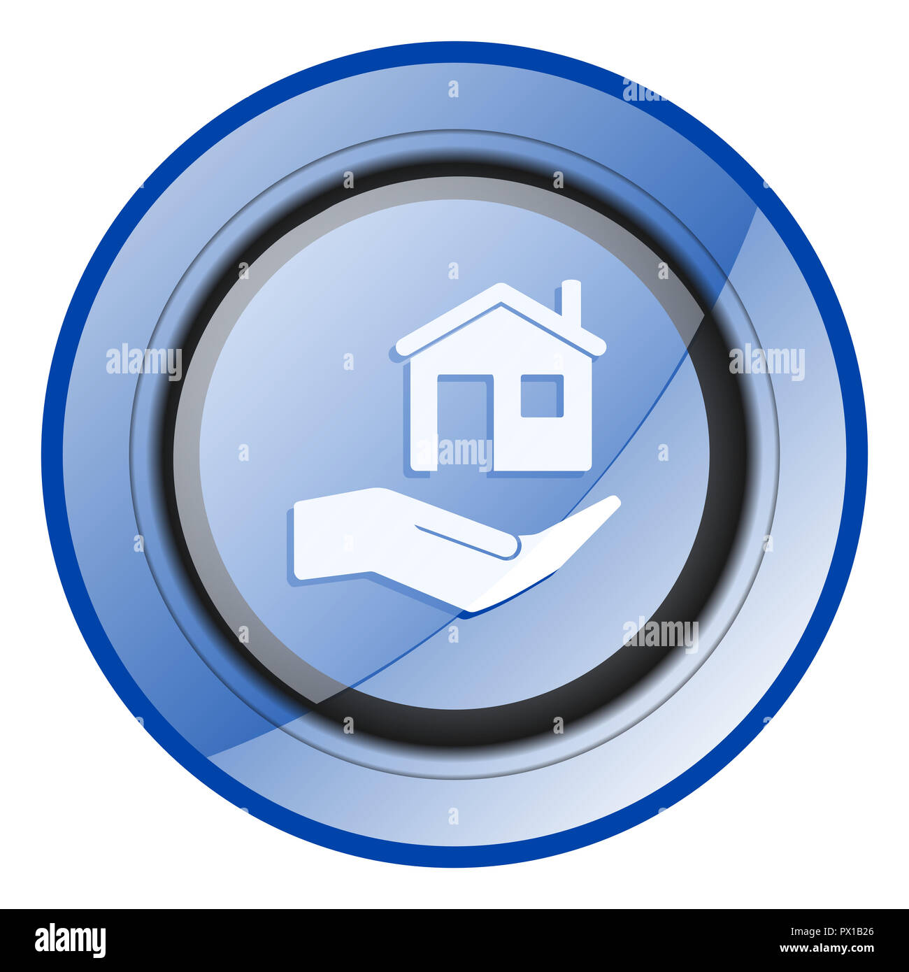 House care blue glossy web icon - Stock Image