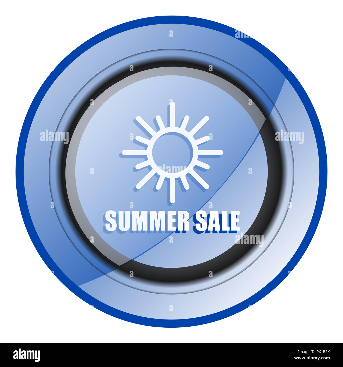Summer sale blue glossy web icon - Stock Image