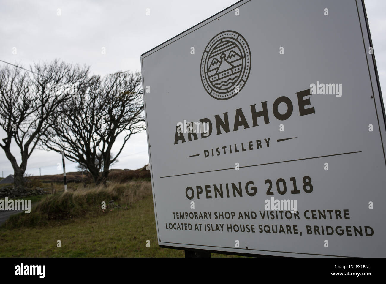 Ardnahoe whisky distillery, in Ardnahoe, Scotland, on 18 October 2018. - Stock Image