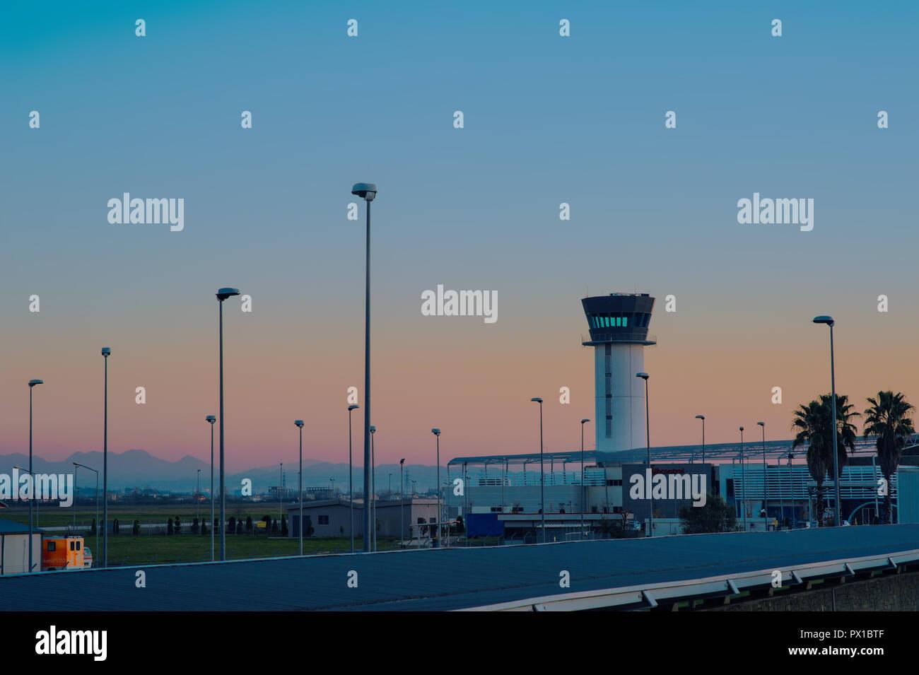 Tirana, Albania - December 2014: Tirana International Airport Nene Tereza, commonly Rinas International Airport - Stock Image