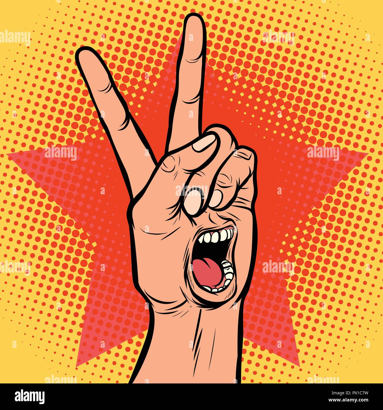 scream delight mouth emotion hand victory gesture - Stock Image