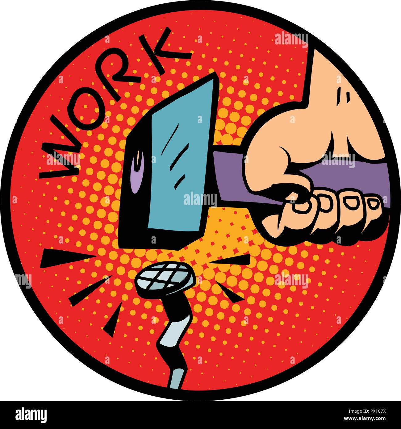 work symbol, hammer nail - Stock Vector