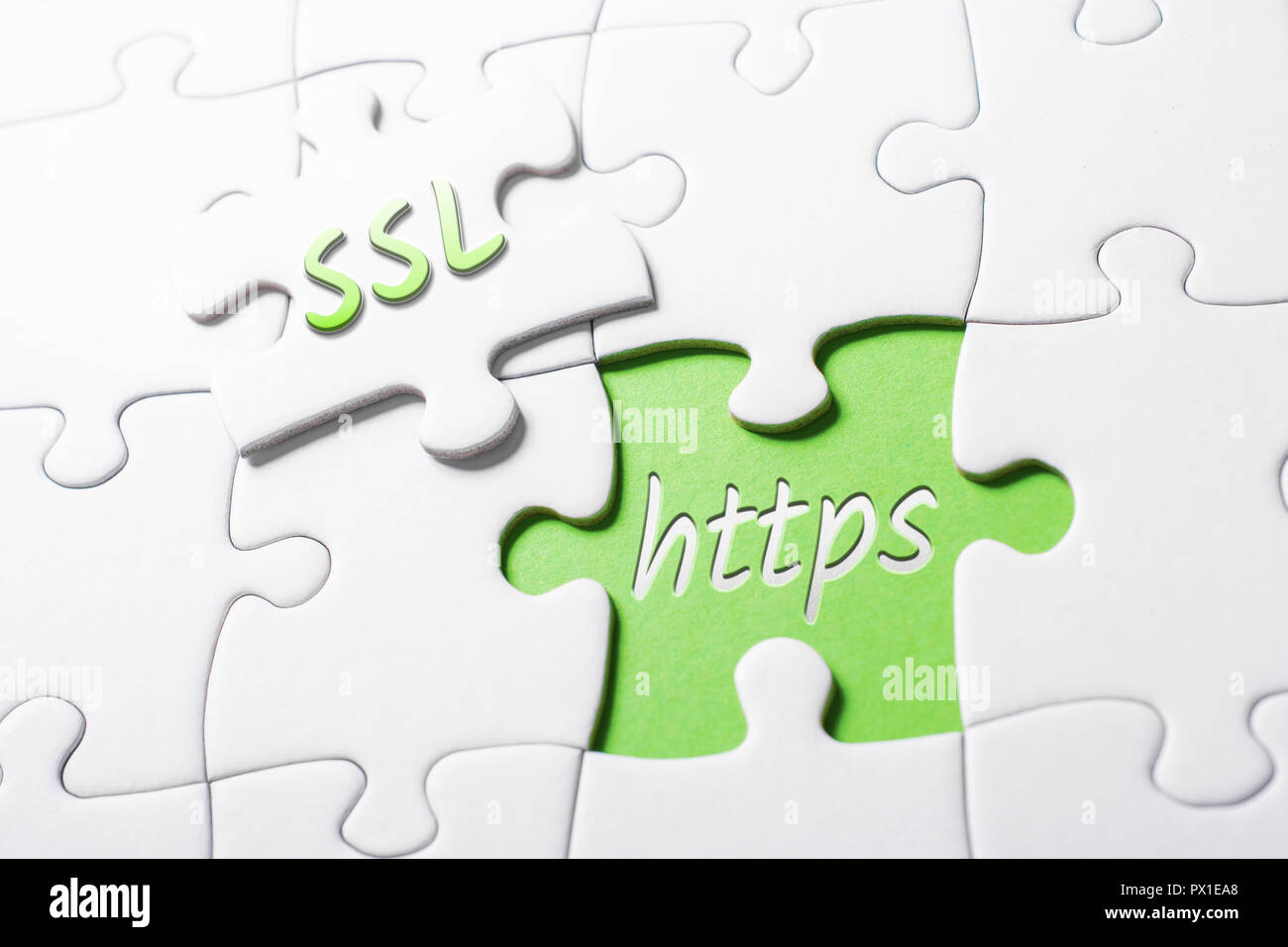 The Words SSL And HTTPS In Missing Piece Jigsaw Puzzle - Stock Image