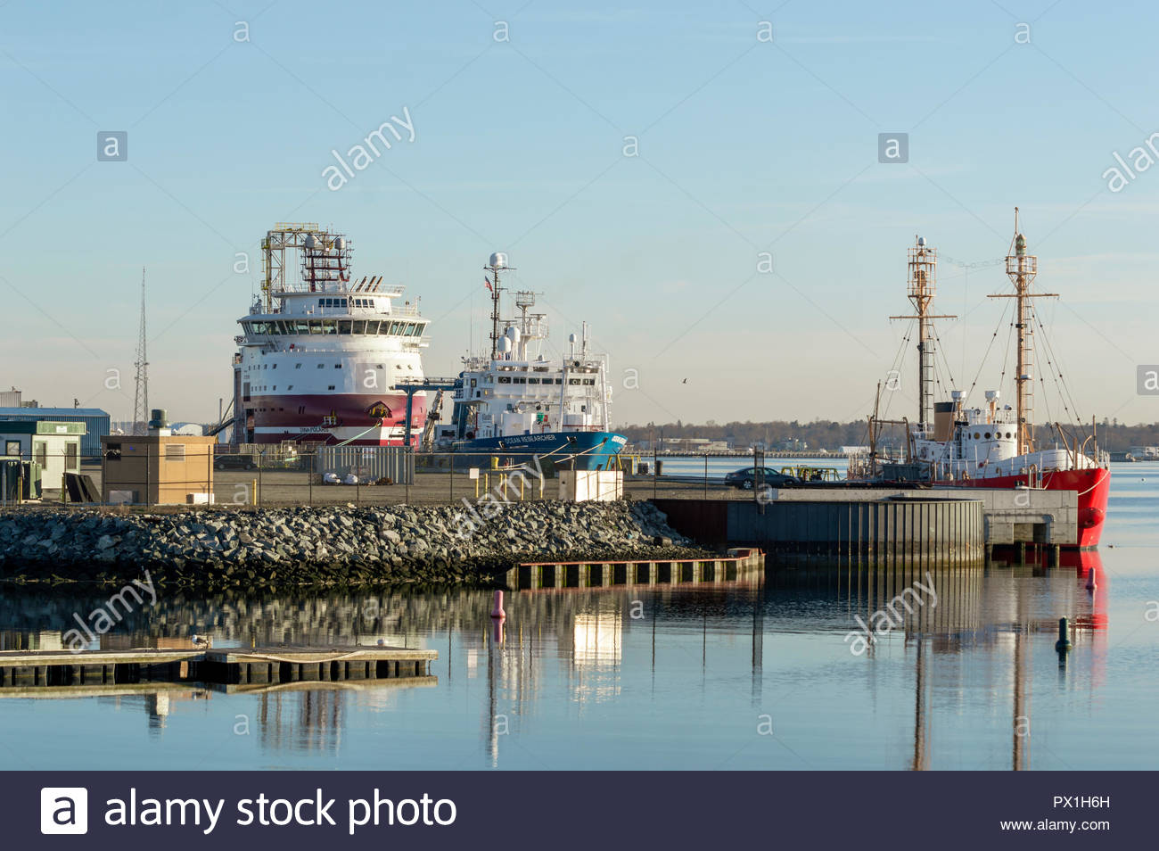 New Bedford, Massachusetts, USA - April 24, 2018: Geotechnical drilling vessel Dina Polaris, research vessel Ocean Researcher and charter Nantucket - Stock Image