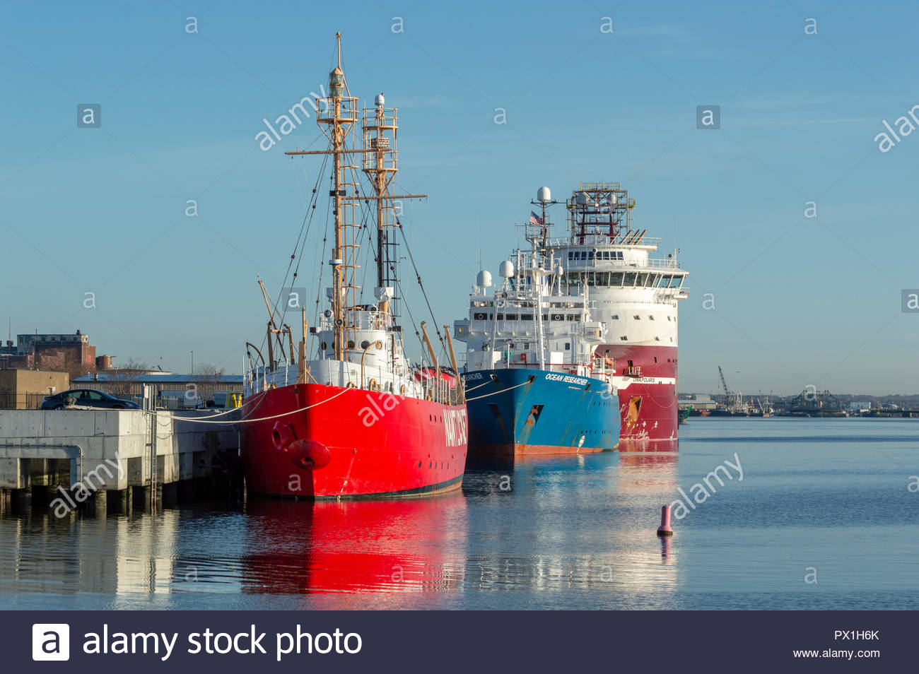 New Bedford, Massachusetts, USA - April 24, 2018: Geotechnical drilling vessel Dina Polaris, research vessel Ocean Researcher and decommissioned Nantu - Stock Image