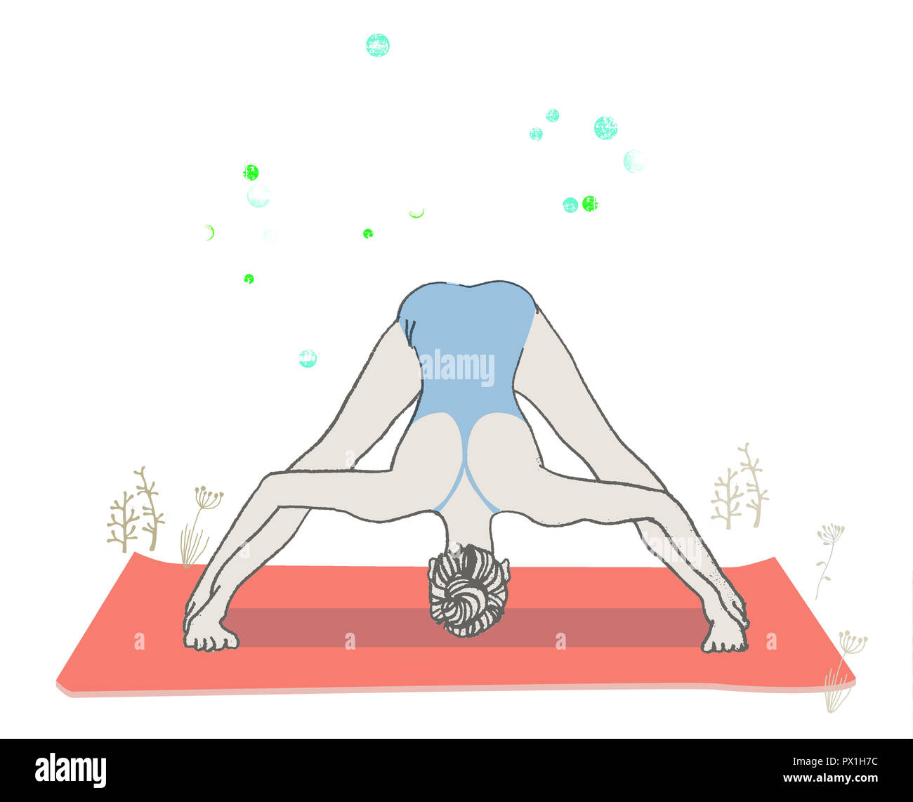 yoga woman in forward bend pose - Stock Image