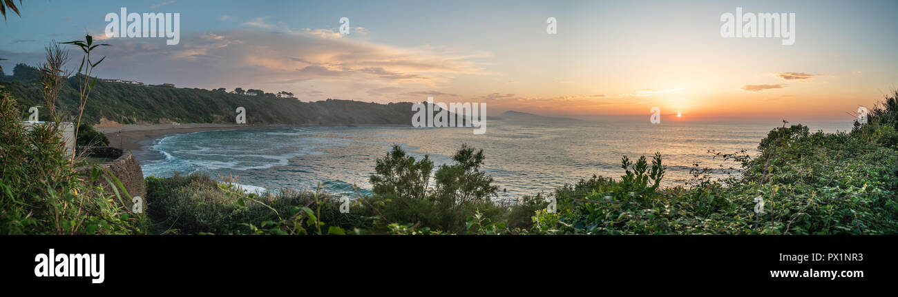Panoramic view of Lafetenia France Basque Sunset Surfbeach - Stock Image