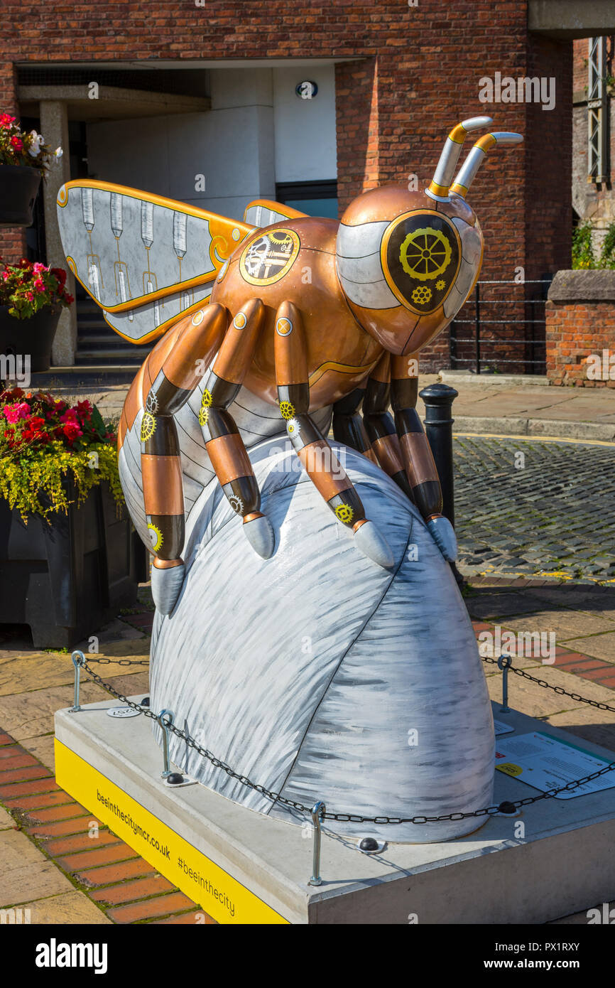 Steam-Powered Bee, by Karis Viola Lambert.  One of the Bee in the City sculptures, Castle Street, Castlefield, Manchester, UK. - Stock Image