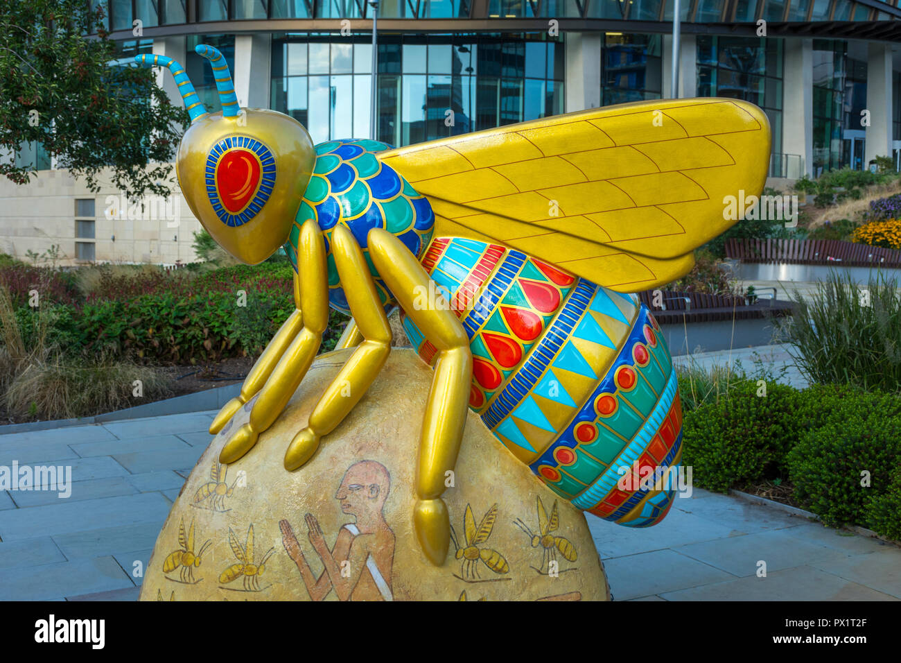 The Tears of Ra, by Donna Newman.  One of the Bee in the City sculptures, Angel Square, Manchester, UK. - Stock Image