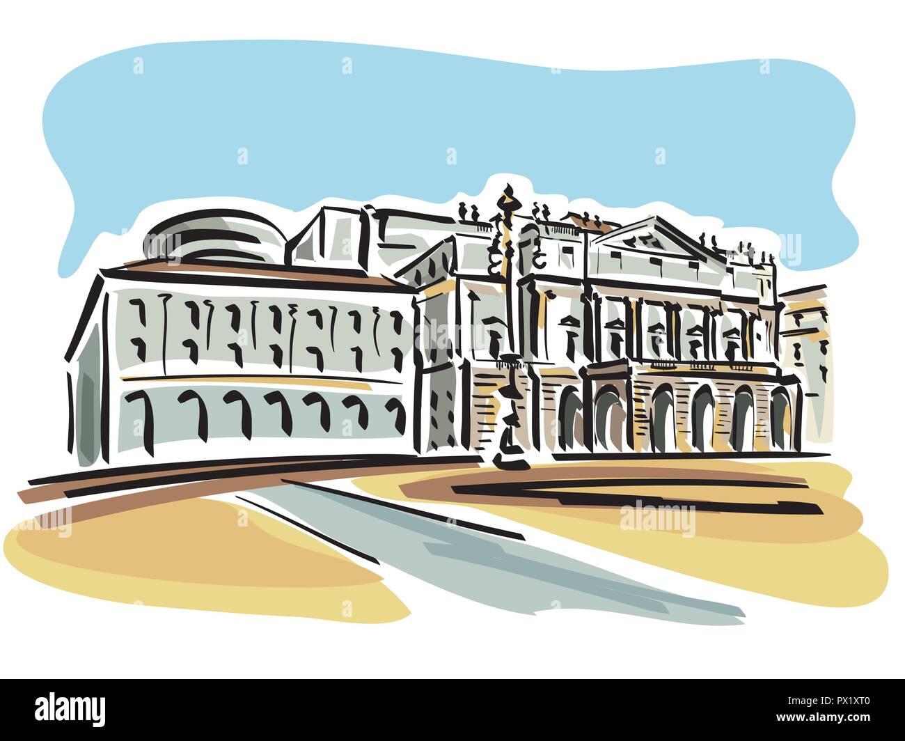 vector illustration of the La Scala Opera House in Milan - Stock Vector