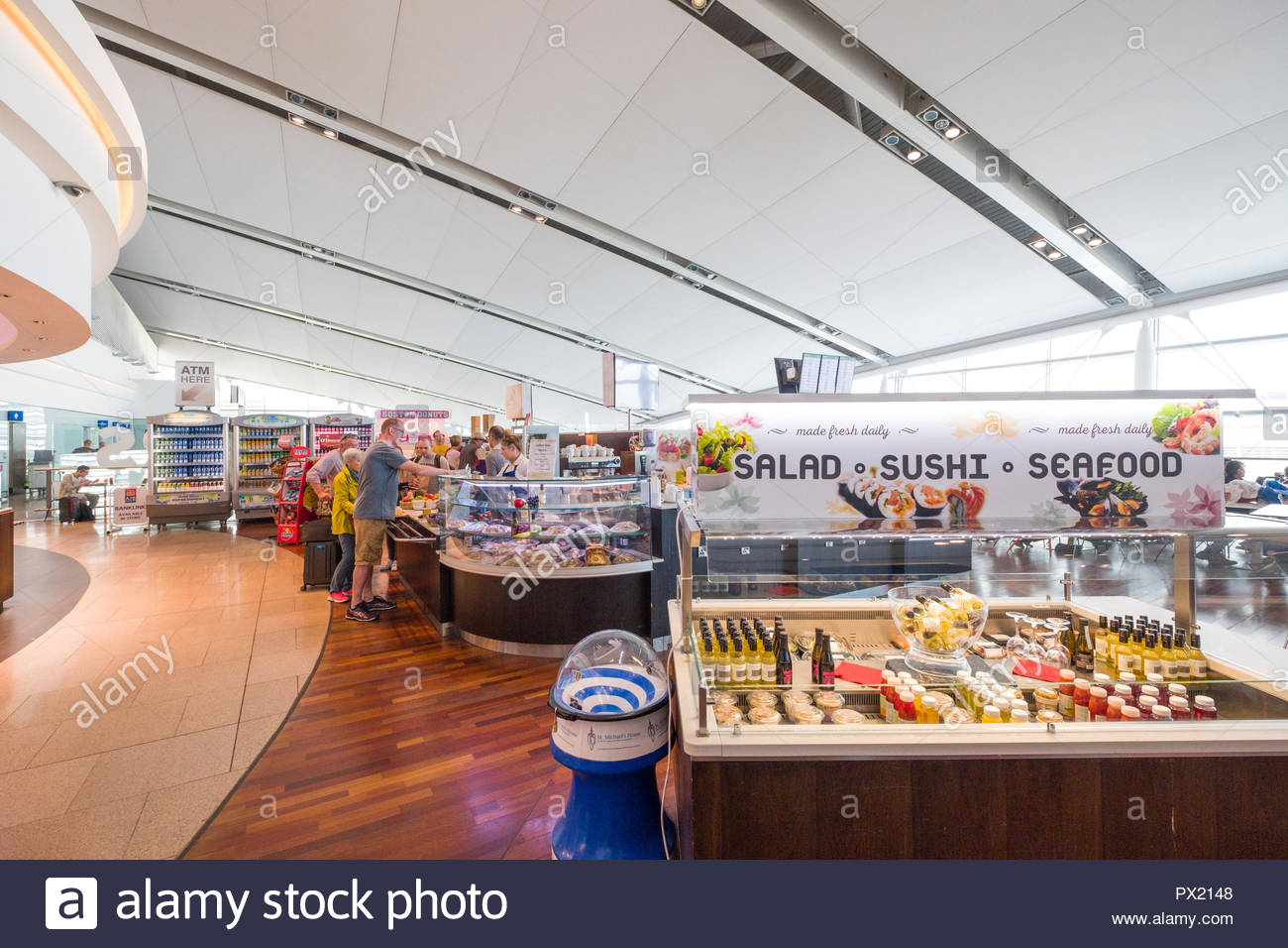 Refrigerated display cases with cold drinks and food items for sale at the food court in Terminal 2, Dublin Airport, Collinstown, County Dublin, Leins Stock Photo