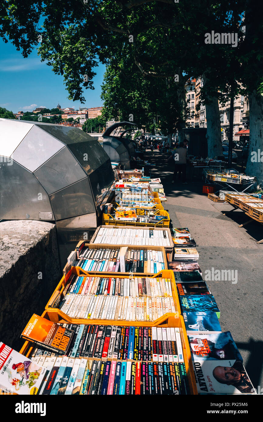 Secondhand booksellers book stand and market of the Quai de la Pecherie on Saone river banks in Lyon, Lyon, France, 2018 - Stock Image