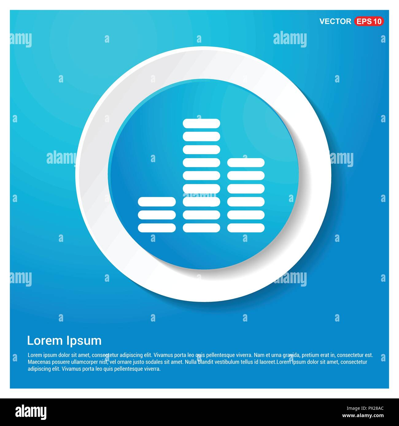 Equalizer icon Abstract Blue Web Sticker Button - Free vector icon