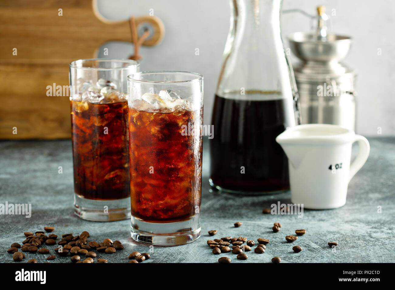 Refreshing cold brew iced coffee in tall glasses - Stock Image