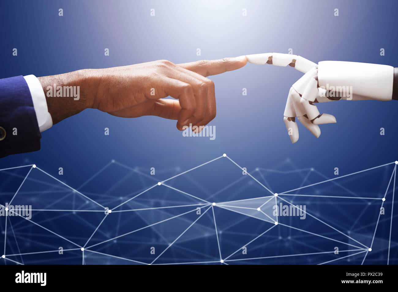 Businessman Touching Robot Finger On Futuristic Background - Stock Image