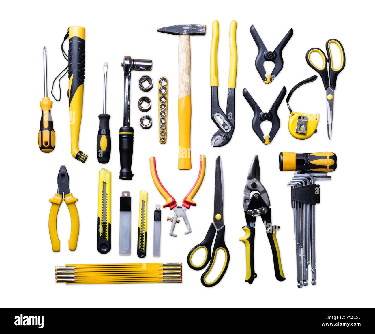Elevated View Of Various Construction Tools On White Background - Stock Image