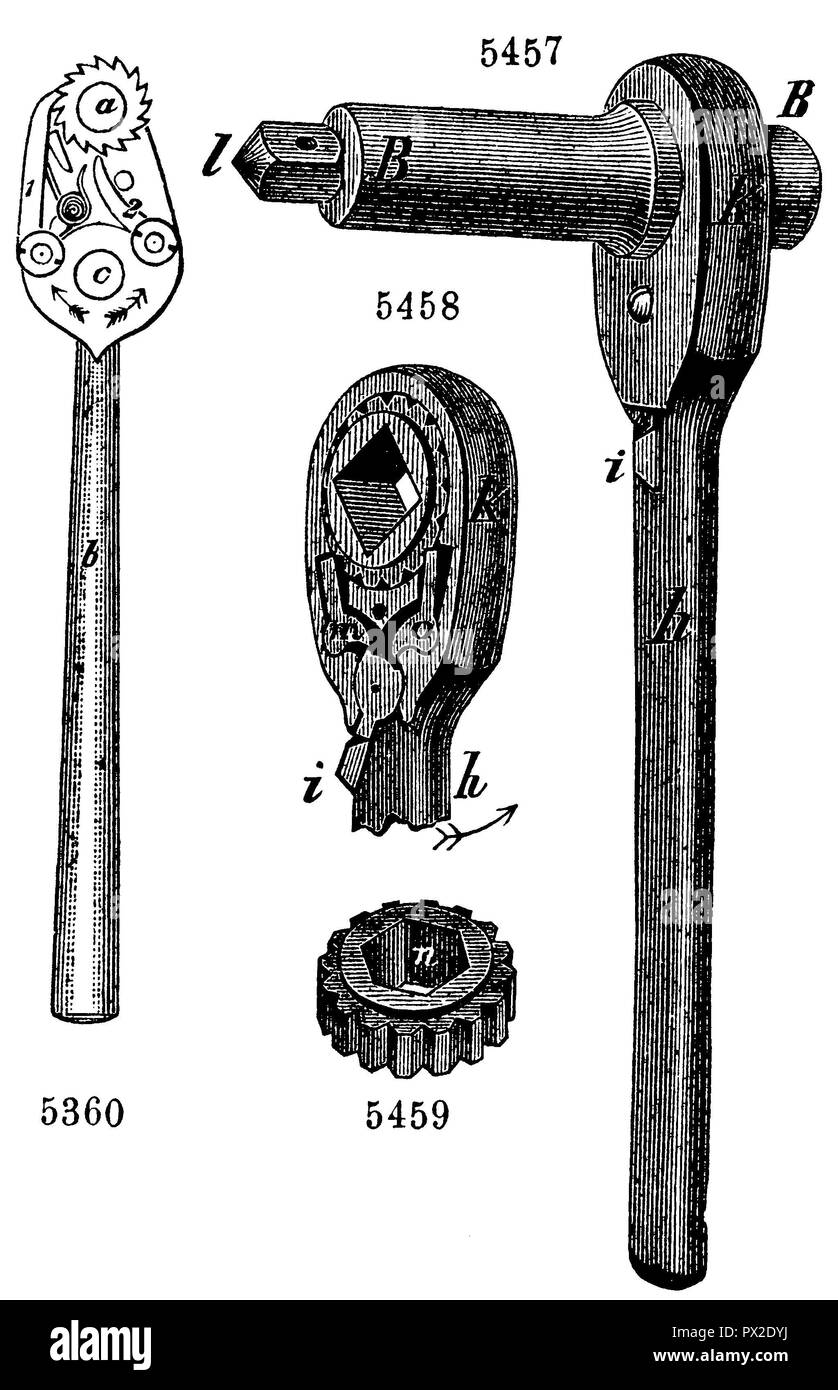 Ratchet. American ratchet (right). Acceleration of the drilling is achieved when the pendulum-like moving lever with each rash rotates the borer in one direction (left), - Stock Image