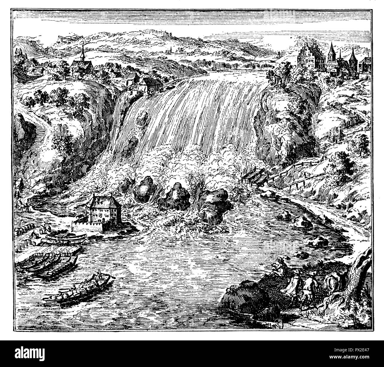 Rhine Falls near Schaffhausen at the end of the 17th century,   1902 - Stock Image