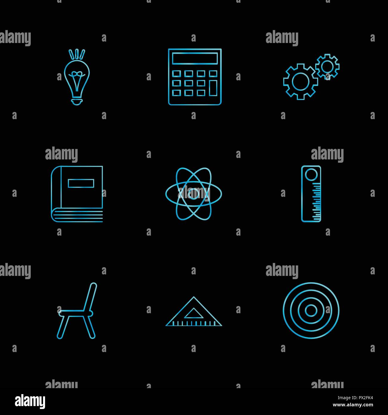 bulb, calculator , setting , gear , book , nuclear , scale