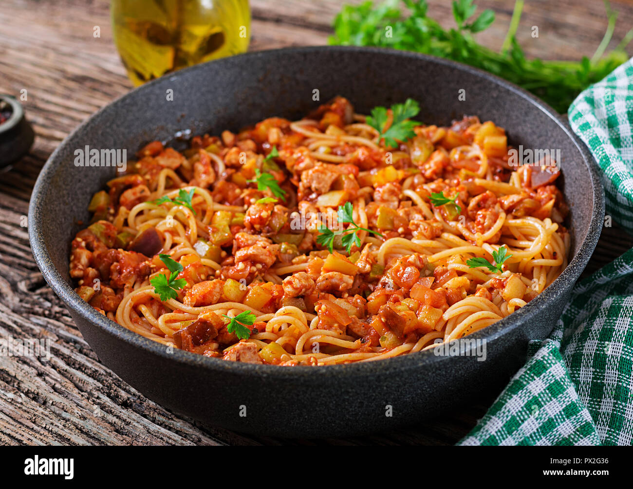 Spaghetti Bolognese Pasta With Tomato Sauce Vegetables And Minced Meat Homemade Healthy Italian Pasta On Rustic Wooden Background Stock Photo Alamy