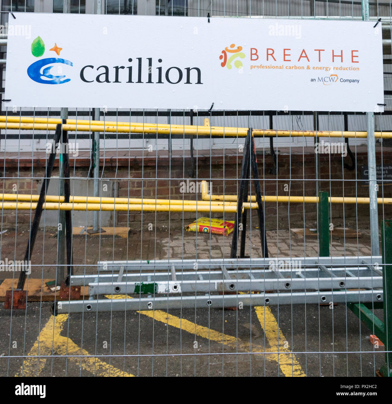 Carillion plc signage -  a British multinational facilities management and construction services company headquartered in Wolverhampton, UK - Stock Image