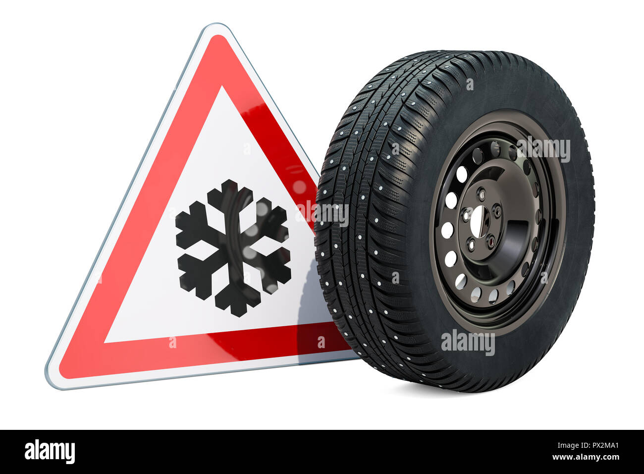 Car wheel with winter studded snow tire and beware of ice or snow, road sign. 3D rendering - Stock Image