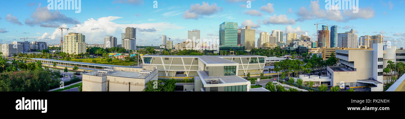 An elevated train platform exists here providing mass public transit in downtown Miami Florida - Stock Image