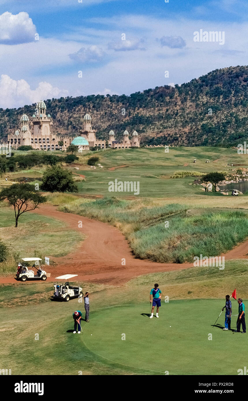 Adjacent to an18-hole, par-72 golf course designed by famed South African pro golfer Gary Player is The Palace of the Lost City, a luxurious 5-star hotel at the world-renowned Sun City holiday resort in the North West Province of South Africa. That popular playground also offers vacationers a water park with a wave pool, a gambling casino, hot-air balloon rides, and even animal safaris in an adjoining game park. - Stock Image
