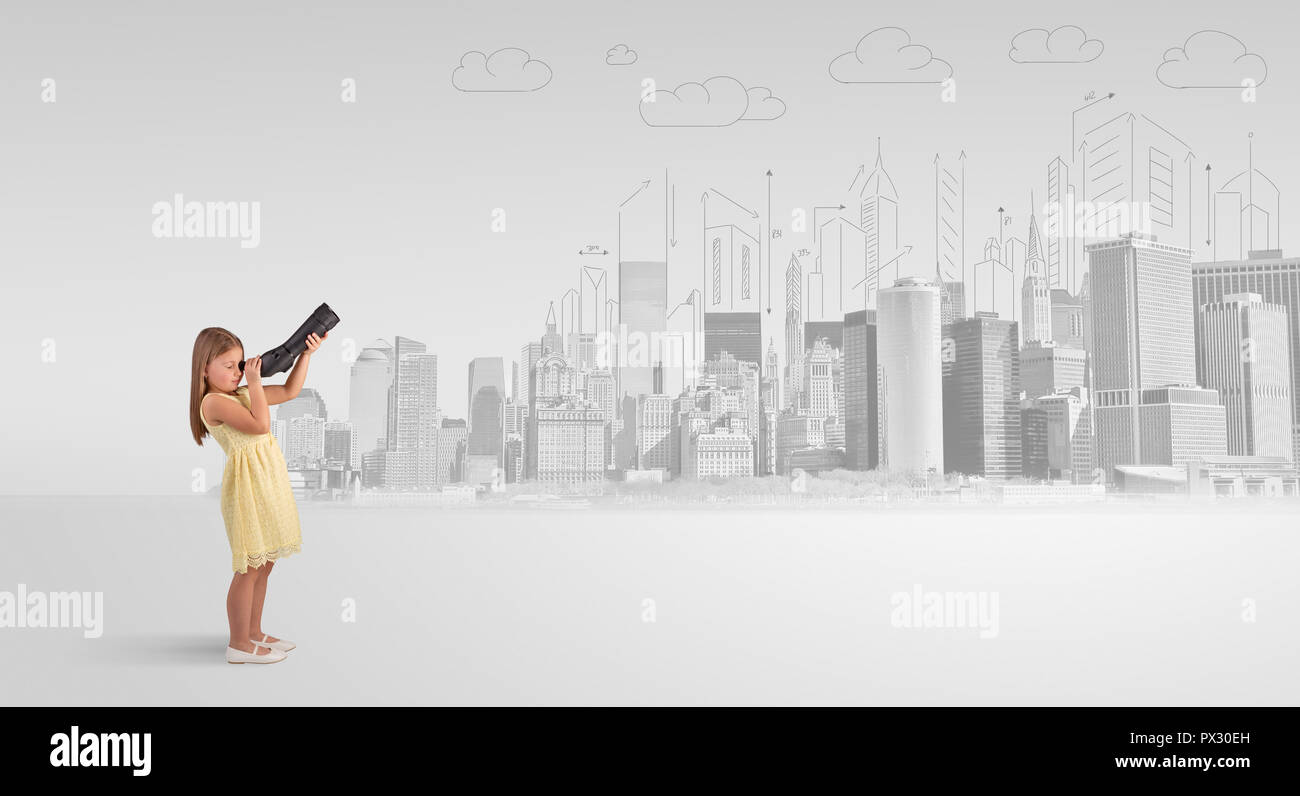 Cute little girl looking through spyglass to a big city  Stock Photo