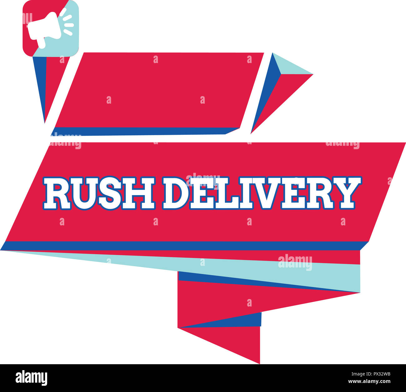 Text sign showing Rush Delivery. Conceptual photo Urgency in transporting goods to customer Urgent need. - Stock Image