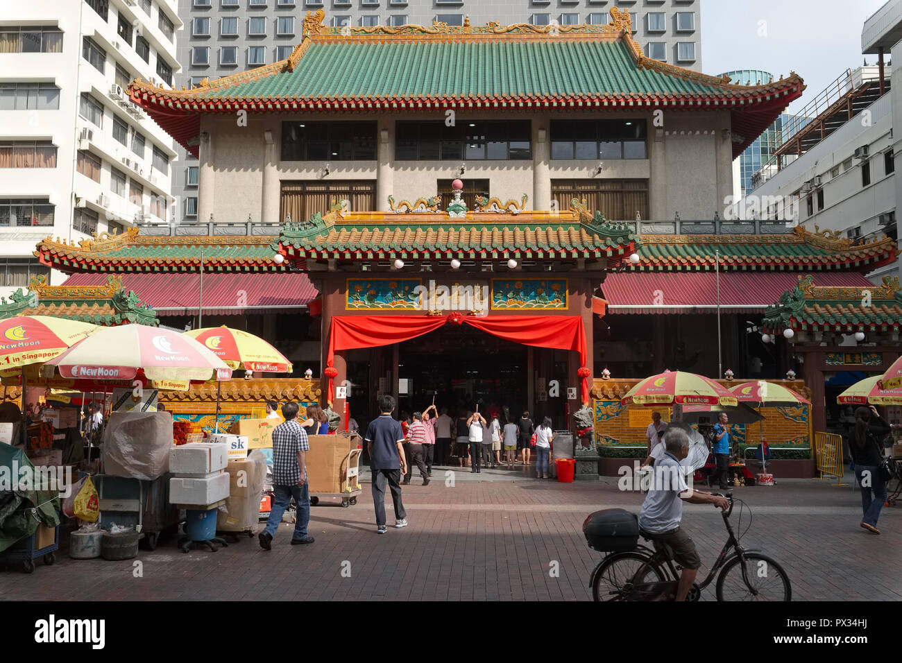 Kwan Im Thong Hood Cho Temple, Waterloo St., Bugis, Singapore, with many shops for religious paraphernalia and vegetarian restaurants in the vicinity - Stock Image