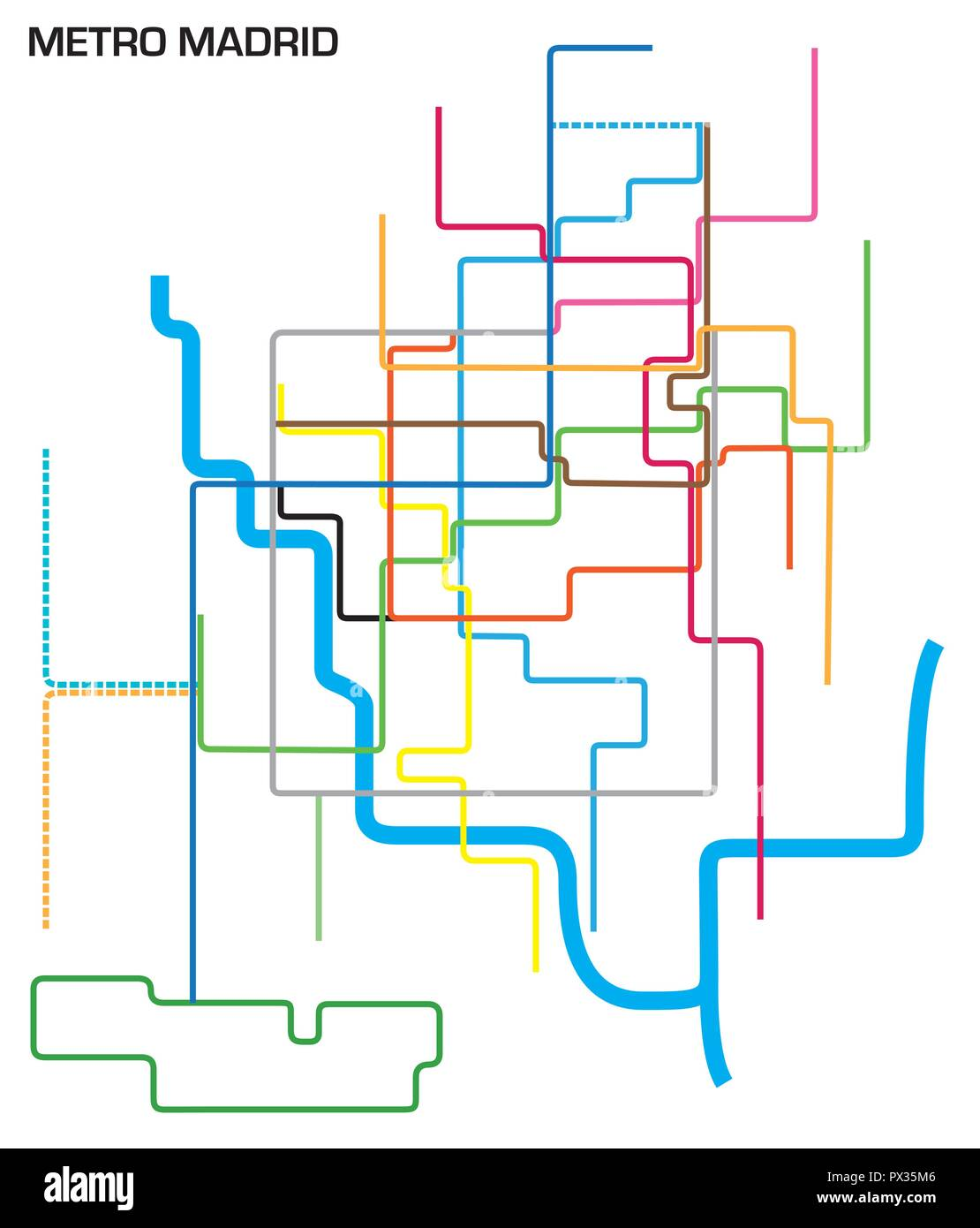 Subway Map For Madrid.Vector Illustration Of The Madrid Metro Map Stock Vector Art