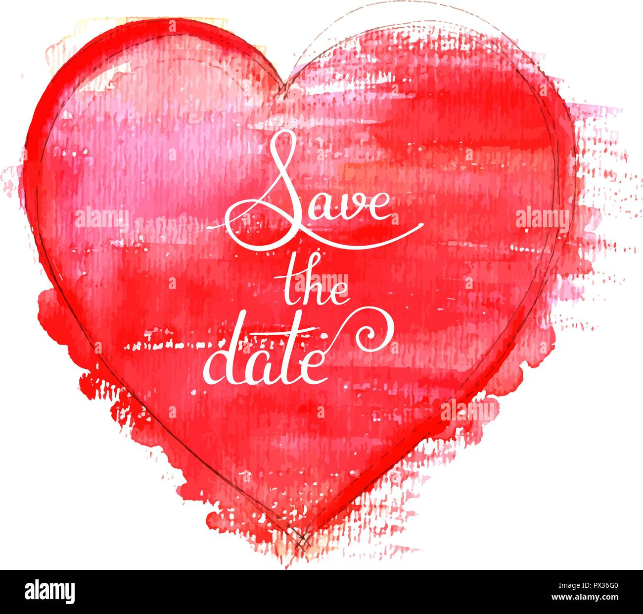 save the date a vector wedding invitation with a red watercolor