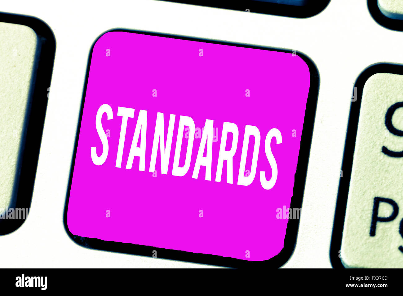 Handwriting text Standards. Concept meaning Level of quality Guideline Measure Example Model to follow. - Stock Image