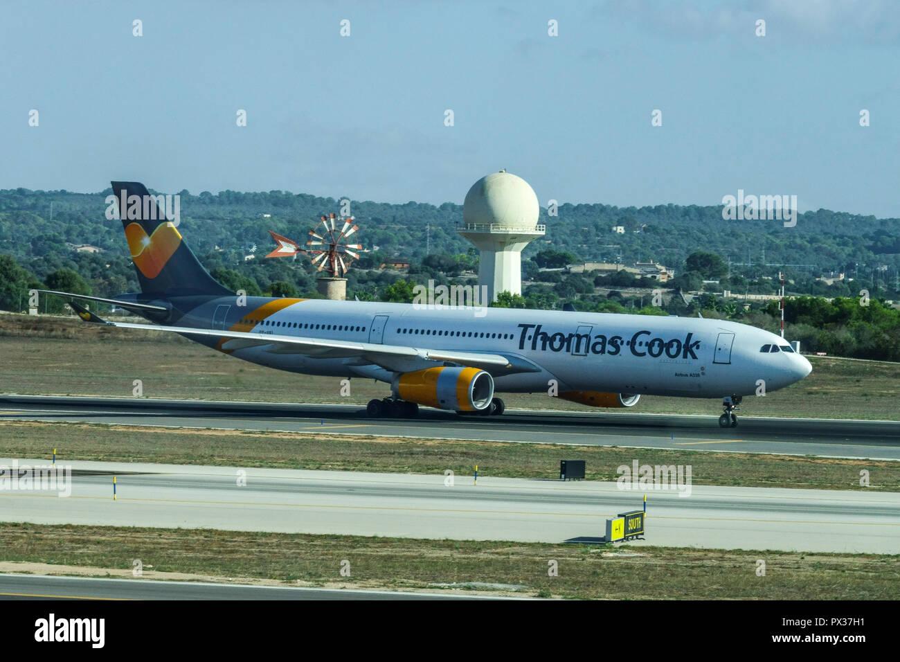 Thomas Cook plane runs on the runway, Palma De Mallorca, Spain - Stock Image