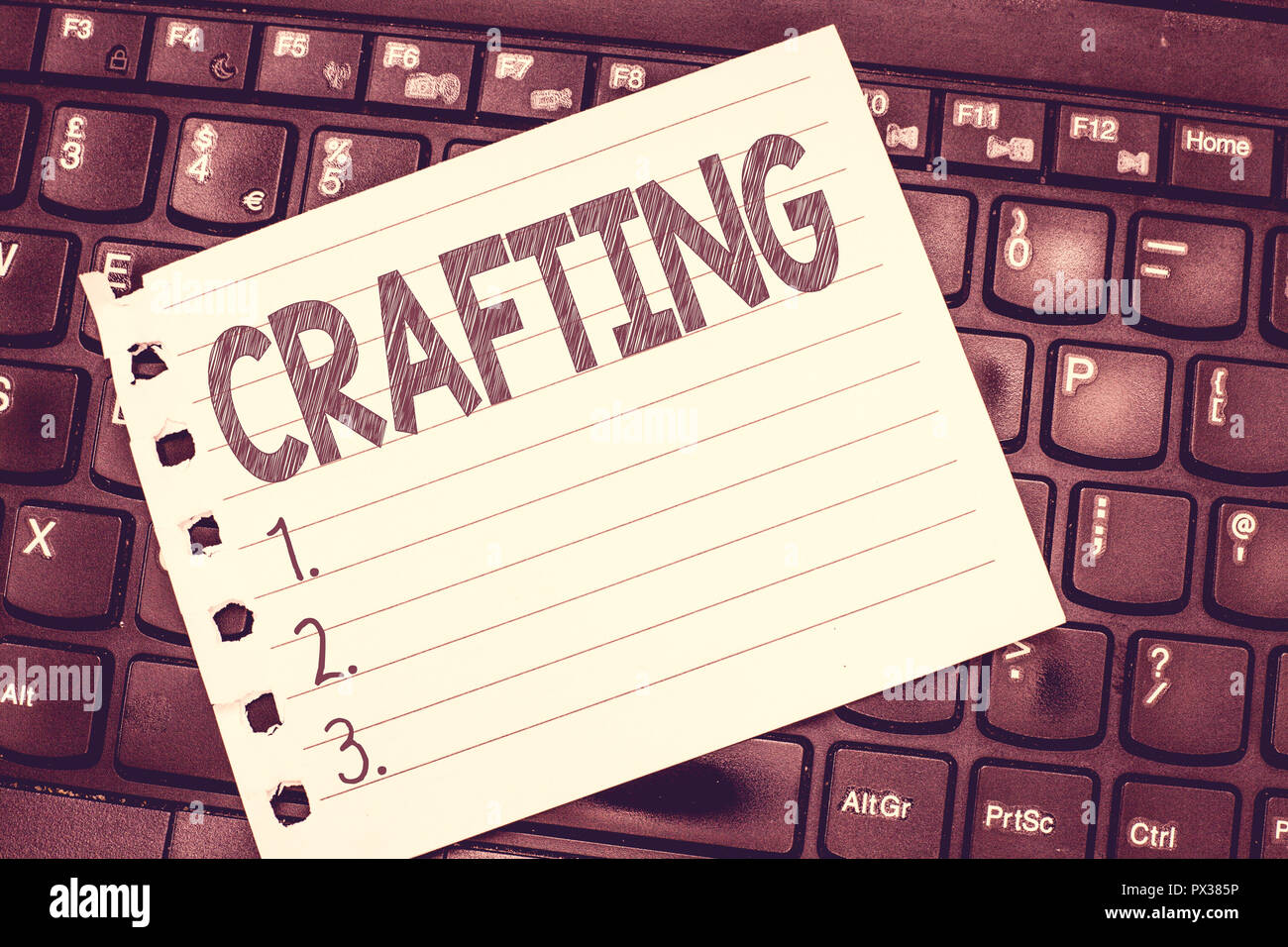 Handwriting text writing Crafting. Concept meaning activity or hobby of making decorative articles by hand using tools. - Stock Image