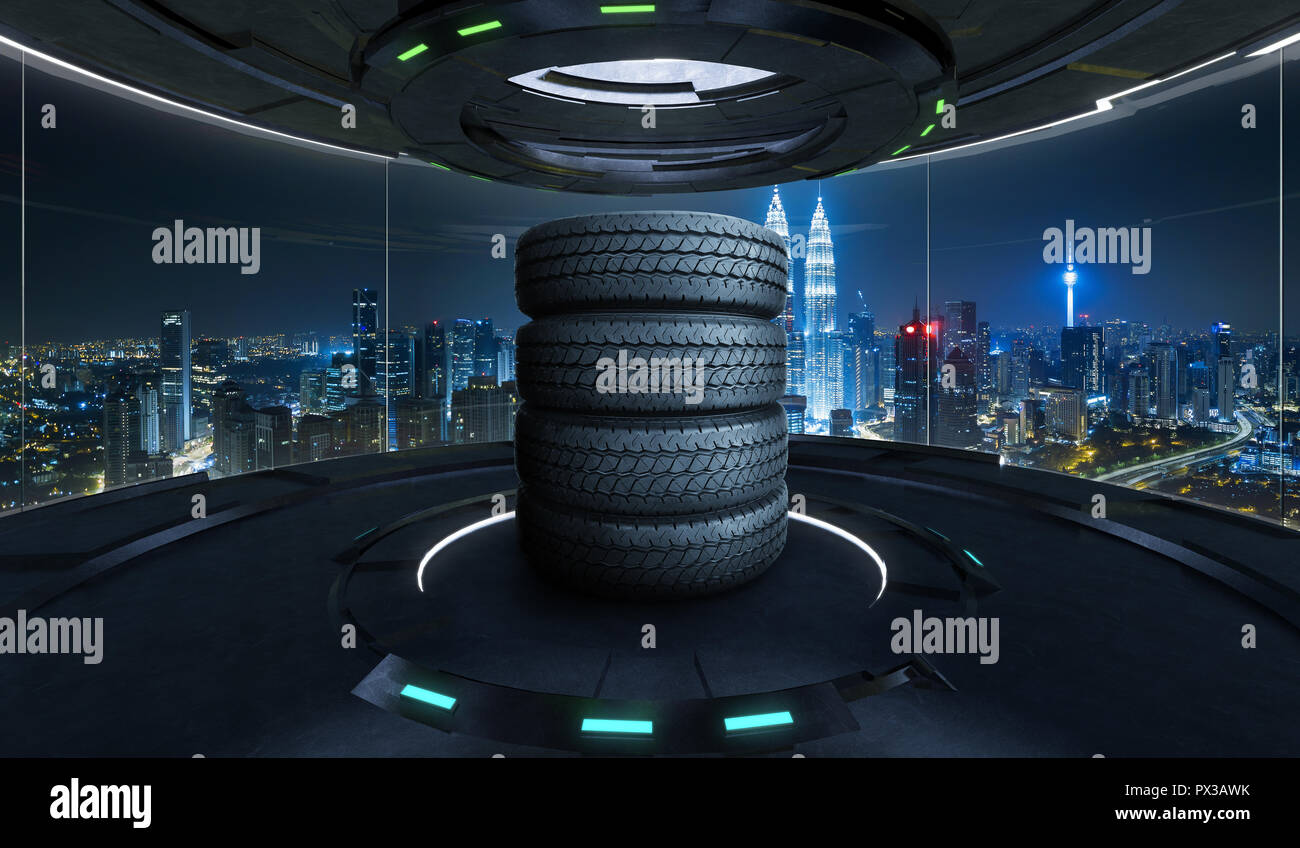 Car tires pile on a Futuristic interior design empty space room with large windows and city urban landscape - Stock Image